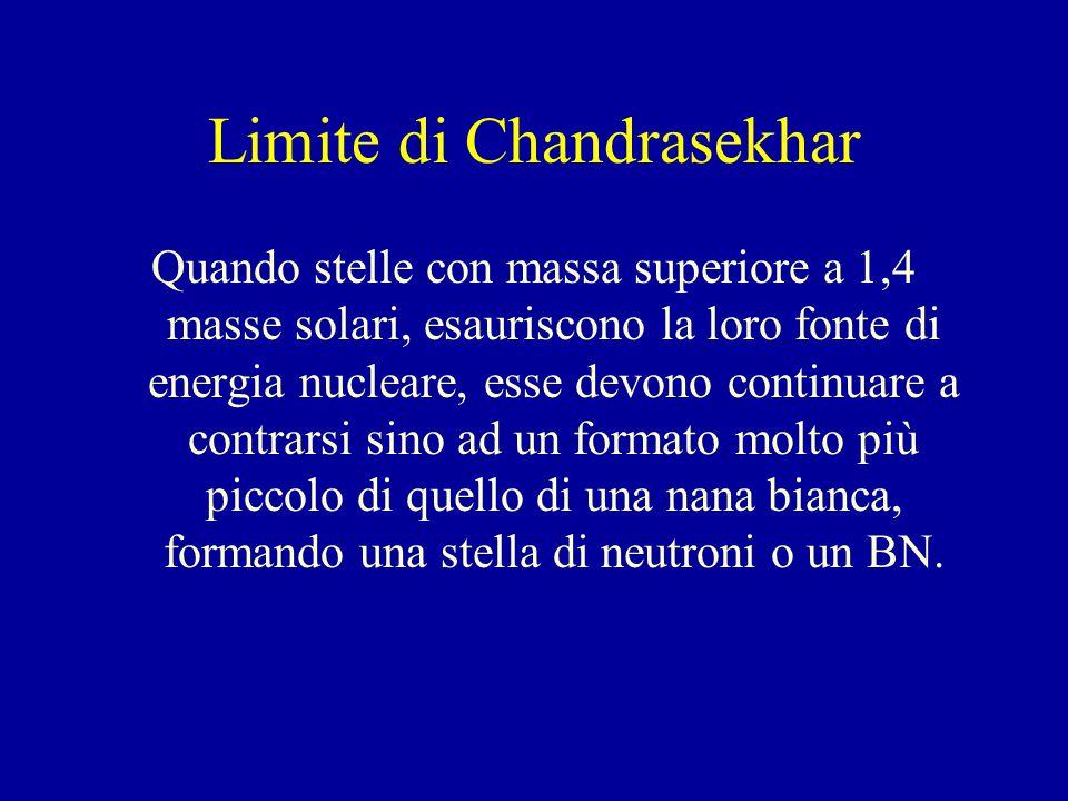Limite di Chandrasekhar Quando stelle con massa superiore a 1,4 masse solari, esauriscono la loro fonte di energia nucleare, esse devono continuare a contrarsi sino ad un formato molto più piccolo di quello di una nana bianca, formando una stella di neutroni o un BN.