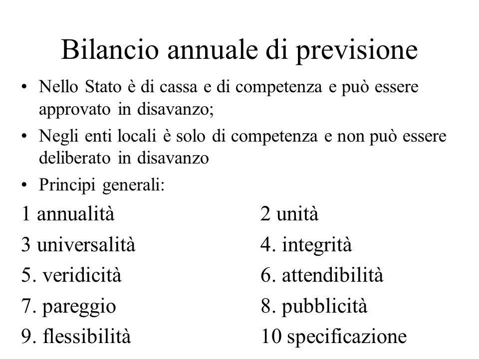 Bilancio annuale di previsione Nello Stato è di cassa e di competenza e può essere approvato in disavanzo; Negli enti locali è solo di competenza e no