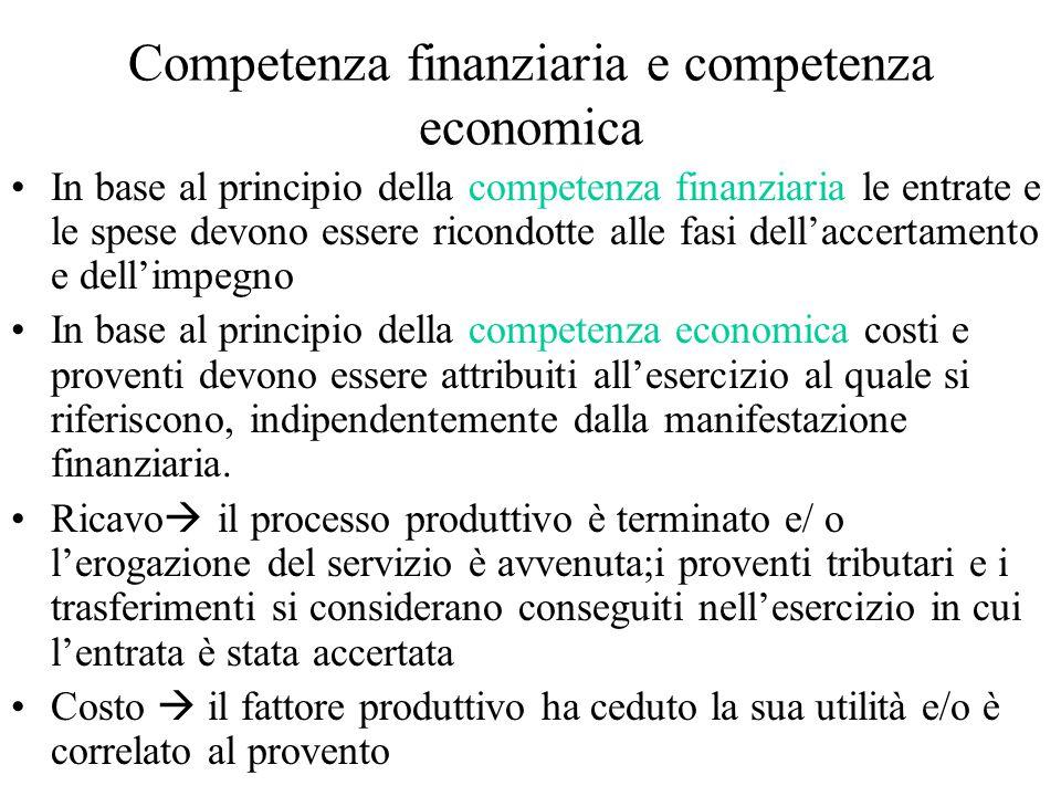 Competenza finanziaria e competenza economica In base al principio della competenza finanziaria le entrate e le spese devono essere ricondotte alle fasi dell'accertamento e dell'impegno In base al principio della competenza economica costi e proventi devono essere attribuiti all'esercizio al quale si riferiscono, indipendentemente dalla manifestazione finanziaria.
