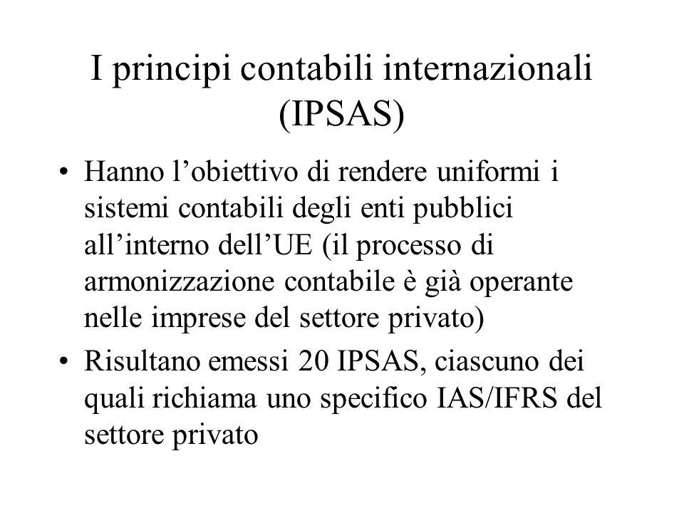I principi contabili internazionali (IPSAS) Hanno l'obiettivo di rendere uniformi i sistemi contabili degli enti pubblici all'interno dell'UE (il processo di armonizzazione contabile è già operante nelle imprese del settore privato) Risultano emessi 20 IPSAS, ciascuno dei quali richiama uno specifico IAS/IFRS del settore privato