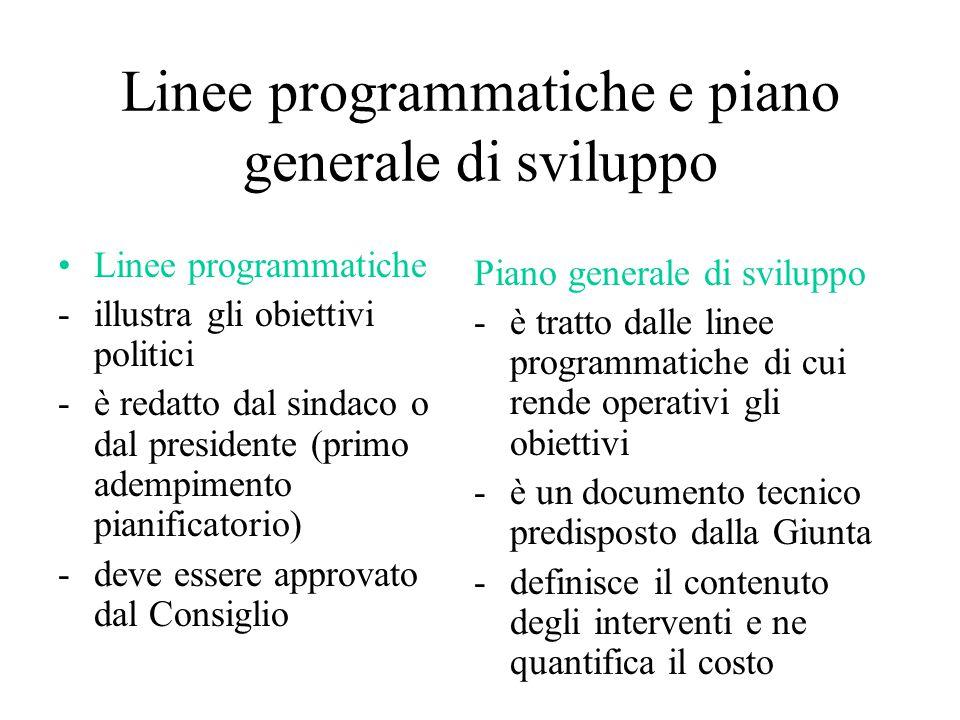 Linee programmatiche e piano generale di sviluppo Linee programmatiche -illustra gli obiettivi politici -è redatto dal sindaco o dal presidente (primo