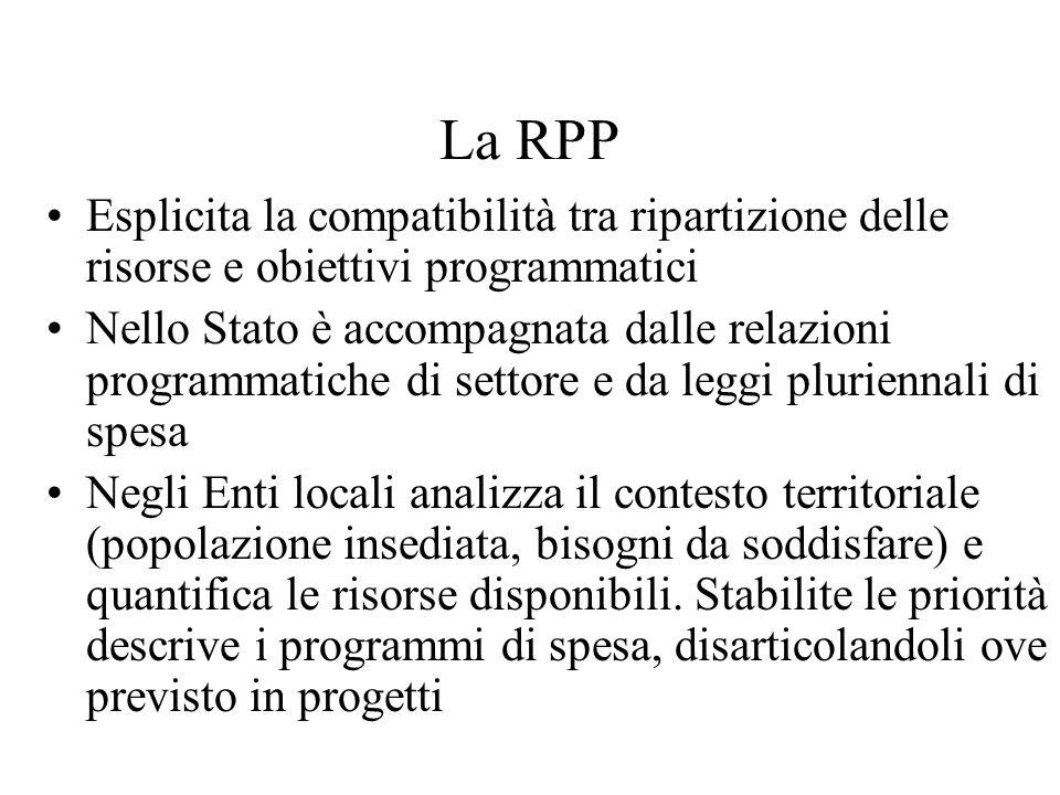 La RPP Esplicita la compatibilità tra ripartizione delle risorse e obiettivi programmatici Nello Stato è accompagnata dalle relazioni programmatiche d