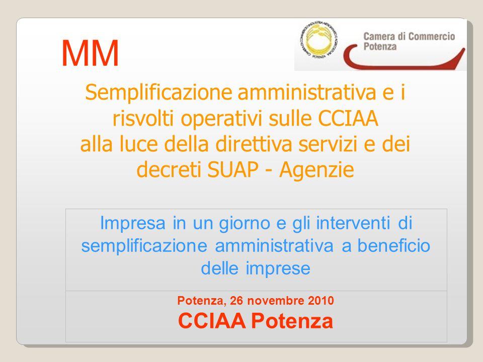 Impresa in un giorno e gli interventi di semplificazione amministrativa a beneficio delle imprese Potenza, 26 novembre 2010 CCIAA Potenza Semplificazi