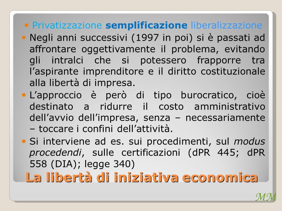 MM La libertà di iniziativa economica Privatizzazione semplificazione liberalizzazione Negli anni successivi (1997 in poi) si è passati ad affrontare