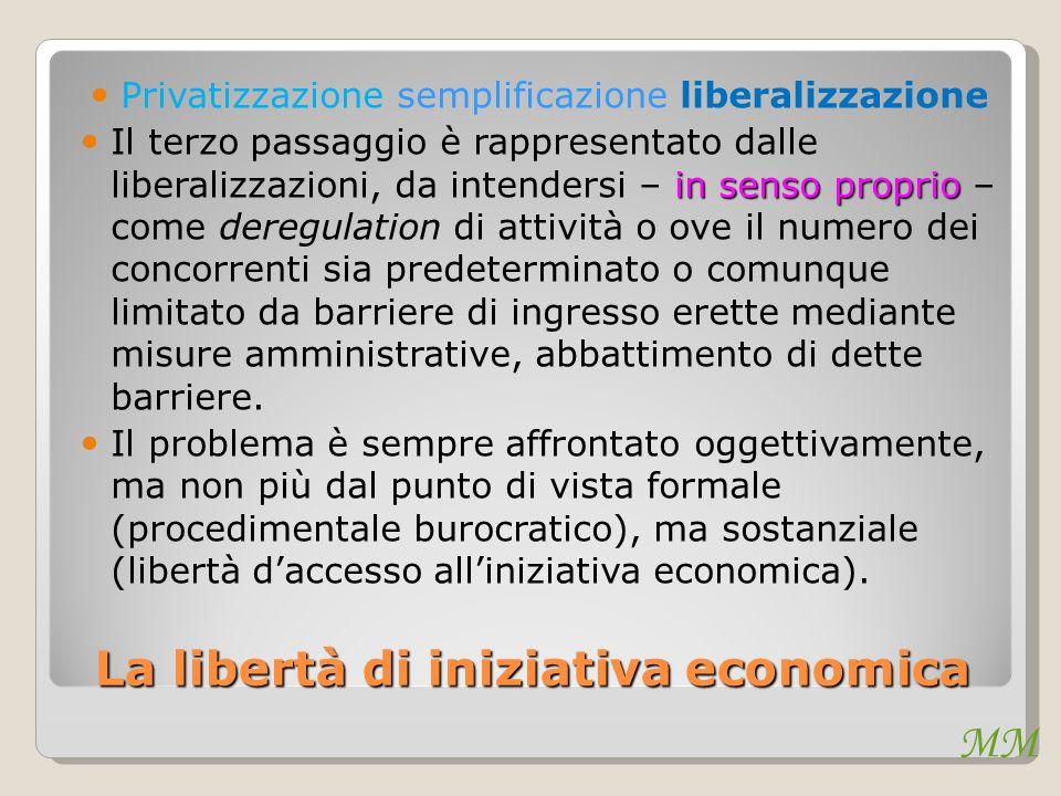 MM La libertà di iniziativa economica Privatizzazione semplificazione liberalizzazione in senso proprio Il terzo passaggio è rappresentato dalle liber