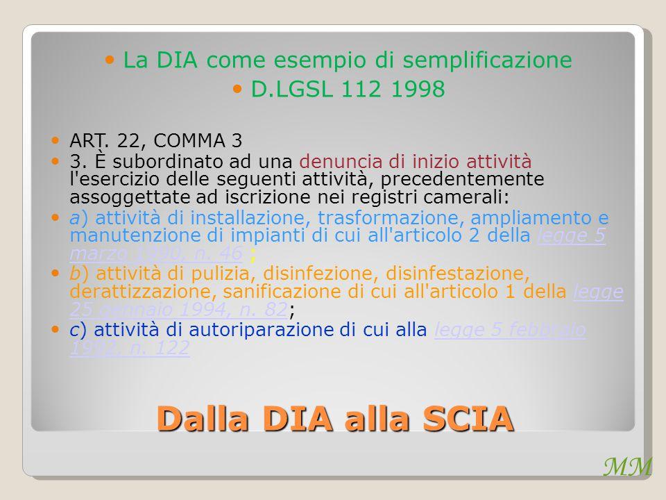 MM Dalla DIA alla SCIA La DIA come esempio di semplificazione D.LGSL 112 1998 ART. 22, COMMA 3 3. È subordinato ad una denuncia di inizio attività l'e