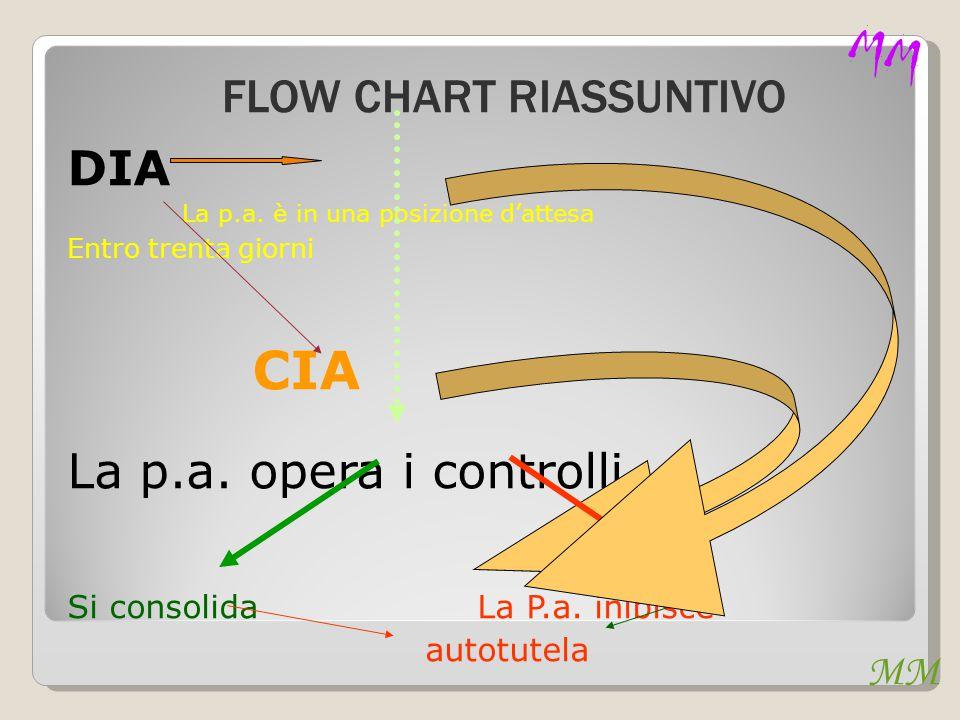 MM DIA La p.a. è in una posizione d'attesa Entro trenta giorni CIA La p.a. opera i controlli Si consolida La P.a. inibisce autotutela MM FLOW CHART RI