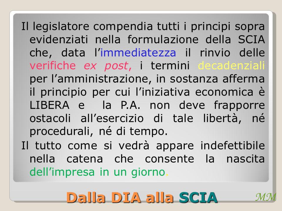 MM Dalla DIA alla SCIA Il legislatore compendia tutti i principi sopra evidenziati nella formulazione della SCIA che, data l'immediatezza il rinvio de