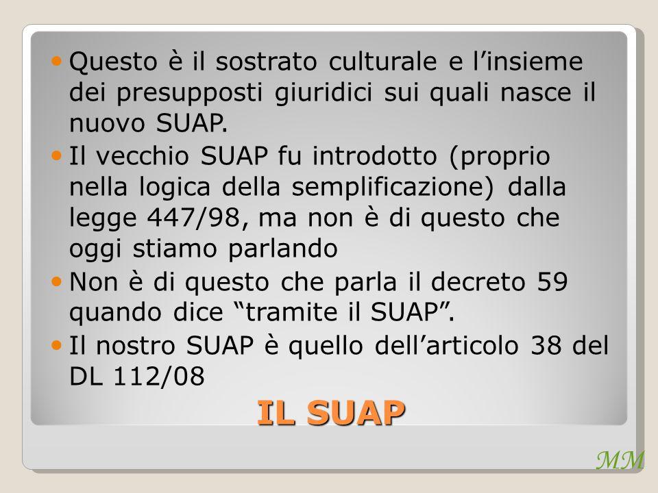 MM IL SUAP Questo è il sostrato culturale e l'insieme dei presupposti giuridici sui quali nasce il nuovo SUAP. Il vecchio SUAP fu introdotto (proprio
