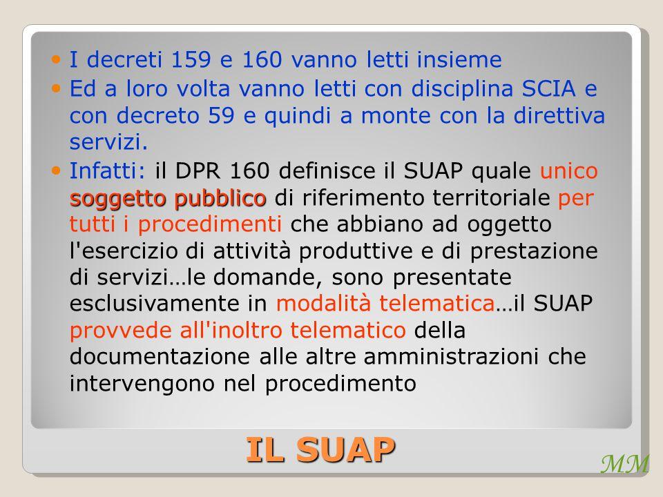 MM IL SUAP I decreti 159 e 160 vanno letti insieme Ed a loro volta vanno letti con disciplina SCIA e con decreto 59 e quindi a monte con la direttiva servizi.