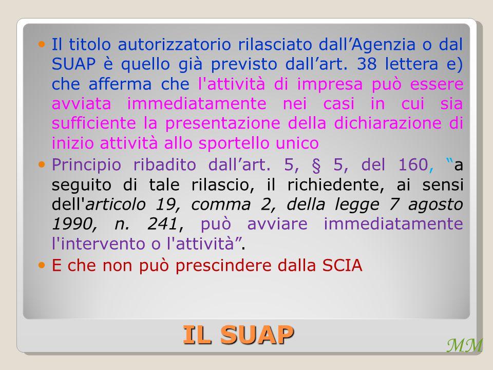 MM IL SUAP Il titolo autorizzatorio rilasciato dall'Agenzia o dal SUAP è quello già previsto dall'art. 38 lettera e) che afferma che l'attività di imp
