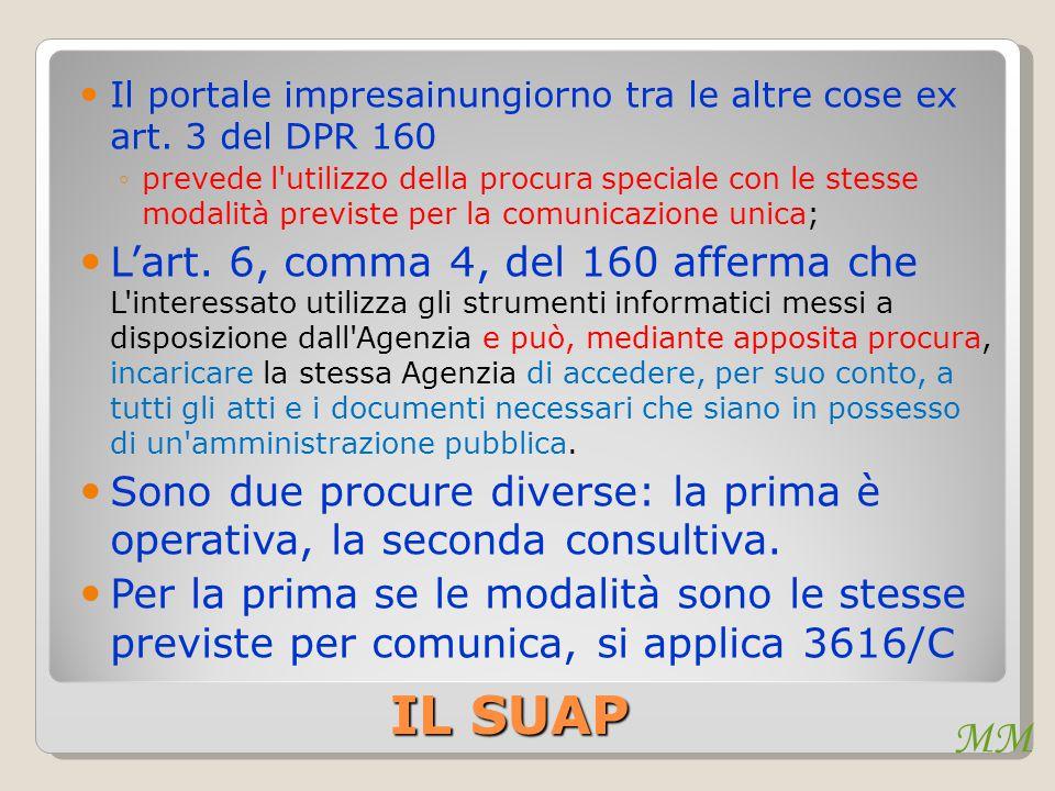 MM IL SUAP Il portale impresainungiorno tra le altre cose ex art. 3 del DPR 160 ◦prevede l'utilizzo della procura speciale con le stesse modalità prev