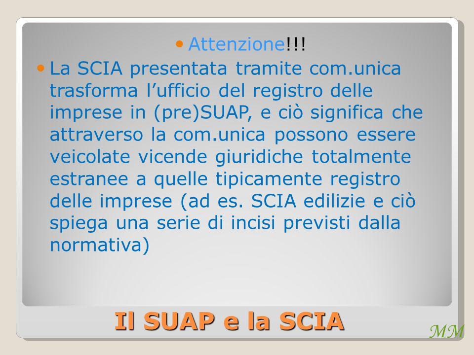 MM Il SUAP e la SCIA Attenzione!!! La SCIA presentata tramite com.unica trasforma l'ufficio del registro delle imprese in (pre)SUAP, e ciò significa c