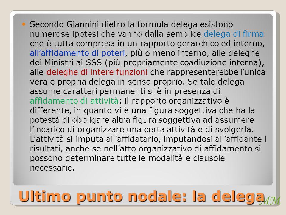 MM Ultimo punto nodale: la delega Secondo Giannini dietro la formula delega esistono numerose ipotesi che vanno dalla semplice delega di firma che è t