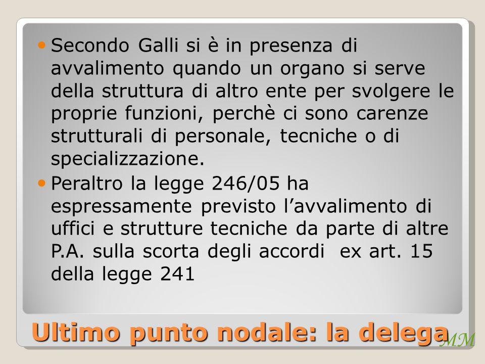 MM Ultimo punto nodale: la delega Secondo Galli si è in presenza di avvalimento quando un organo si serve della struttura di altro ente per svolgere le proprie funzioni, perchè ci sono carenze strutturali di personale, tecniche o di specializzazione.