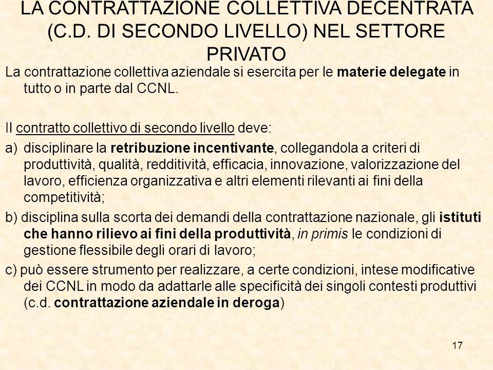 LA CONTRATTAZIONE COLLETTIVA DECENTRATA (C.D.