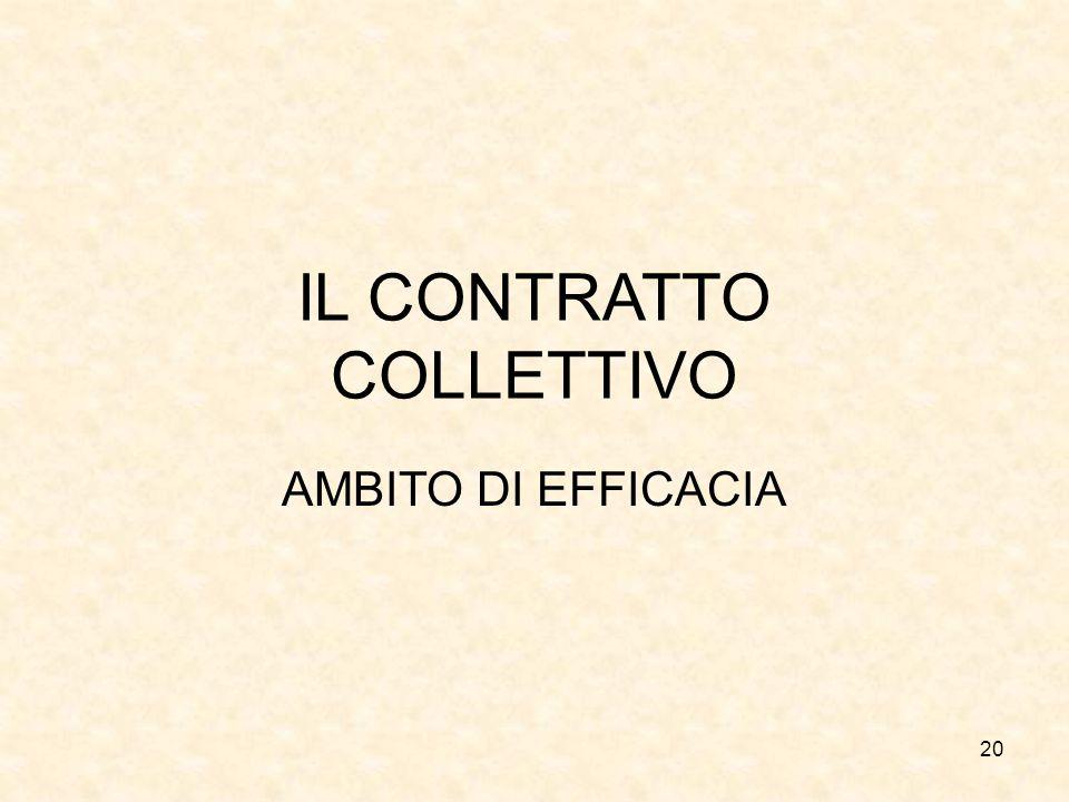 20 IL CONTRATTO COLLETTIVO AMBITO DI EFFICACIA