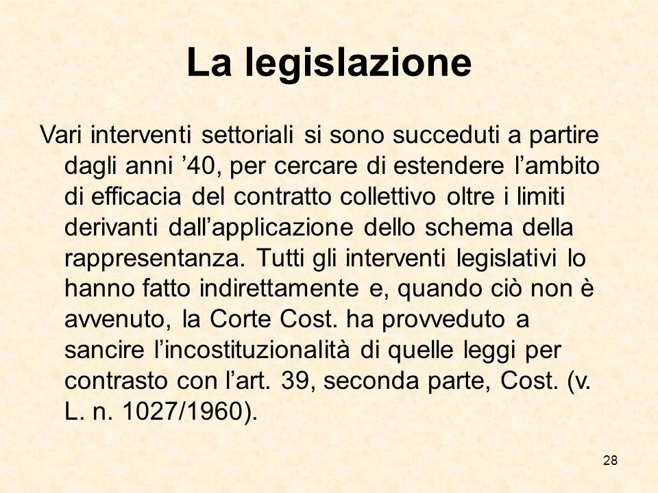 28 La legislazione Vari interventi settoriali si sono succeduti a partire dagli anni '40, per cercare di estendere l'ambito di efficacia del contratto collettivo oltre i limiti derivanti dall'applicazione dello schema della rappresentanza.