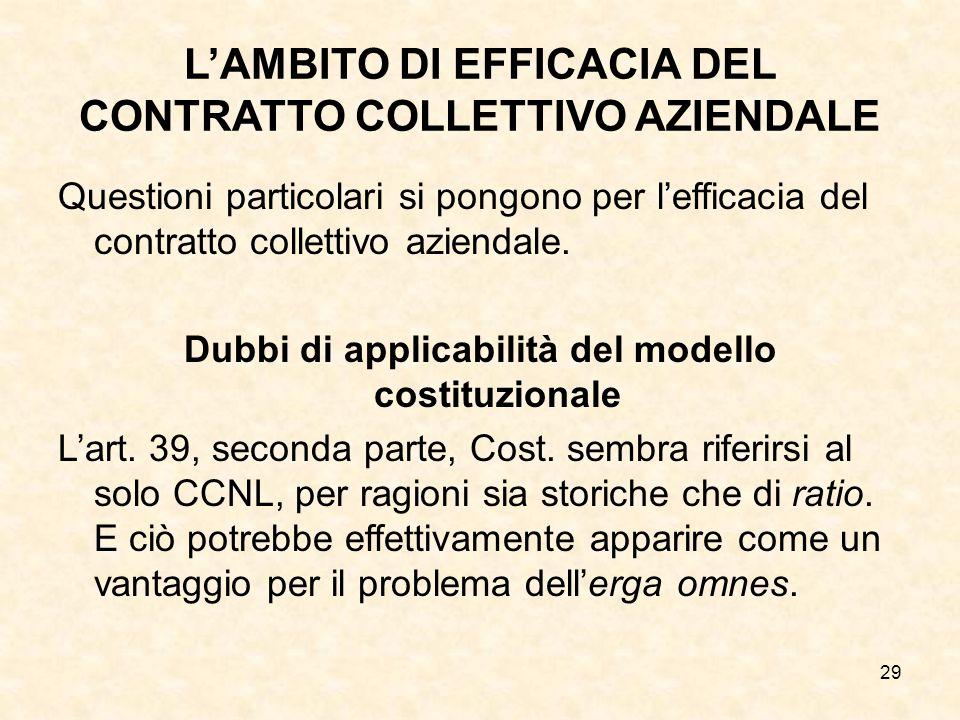 29 L'AMBITO DI EFFICACIA DEL CONTRATTO COLLETTIVO AZIENDALE Questioni particolari si pongono per l'efficacia del contratto collettivo aziendale.