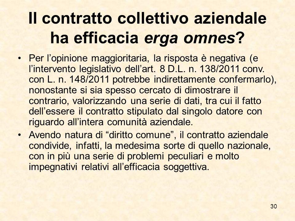 30 Il contratto collettivo aziendale ha efficacia erga omnes.