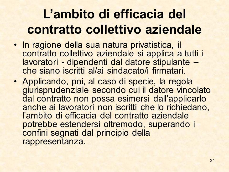 31 L'ambito di efficacia del contratto collettivo aziendale In ragione della sua natura privatistica, il contratto collettivo aziendale si applica a tutti i lavoratori - dipendenti dal datore stipulante – che siano iscritti al/ai sindacato/i firmatari.