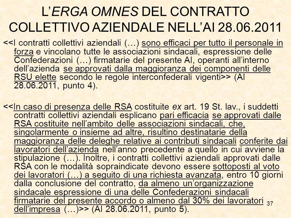 37 L'ERGA OMNES DEL CONTRATTO COLLETTIVO AZIENDALE NELL'AI 28.06.2011 > (AI 28.06.2011, punto 4).