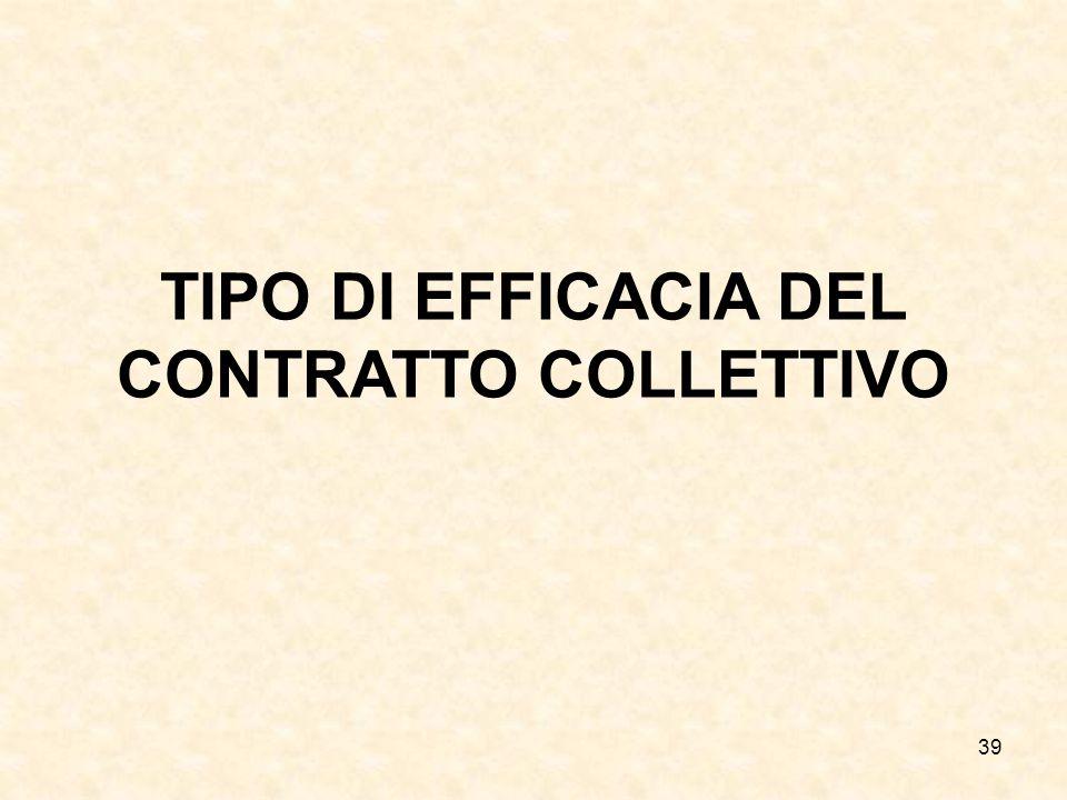 39 TIPO DI EFFICACIA DEL CONTRATTO COLLETTIVO