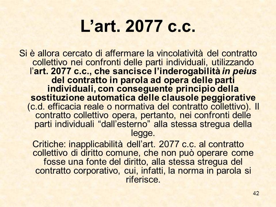 42 L'art.2077 c.c.