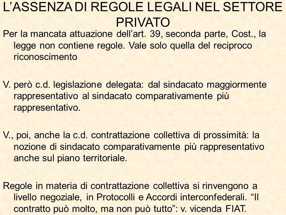 L'ASSENZA DI REGOLE LEGALI NEL SETTORE PRIVATO Per la mancata attuazione dell'art.