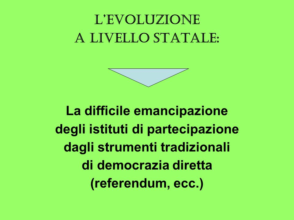 L'EVOLUZIONE A LIVELLO STATALE: La difficile emancipazione degli istituti di partecipazione dagli strumenti tradizionali di democrazia diretta (referendum, ecc.)