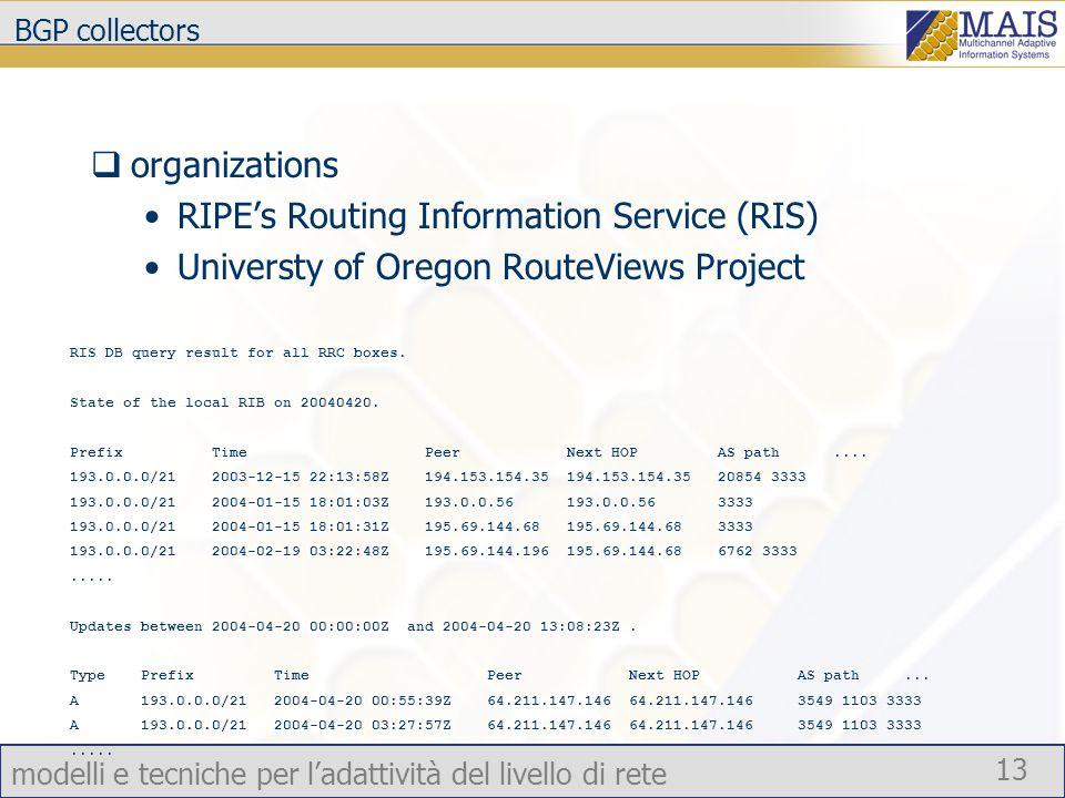 modelli e tecniche per l'adattività del livello di rete 13 BGP collectors  organizations RIPE's Routing Information Service (RIS) Universty of Oregon RouteViews Project RIS DB query result for all RRC boxes.