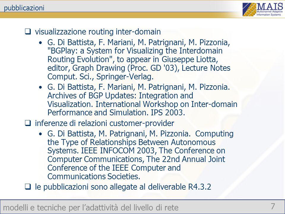 modelli e tecniche per l'adattività del livello di rete 7 pubblicazioni  visualizzazione routing inter-domain G.