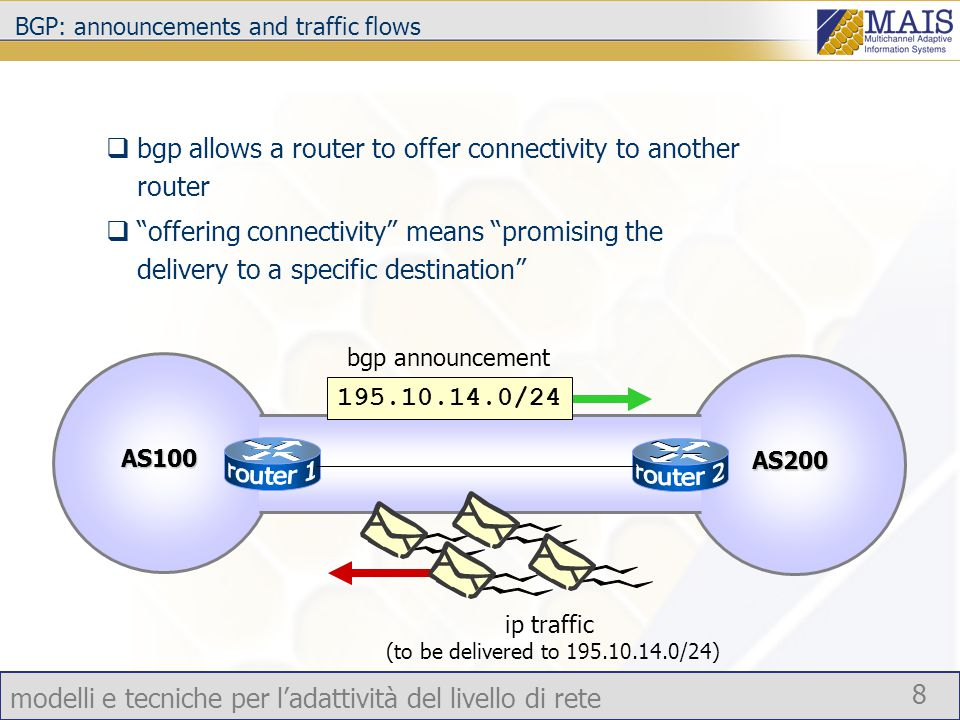 modelli e tecniche per l'adattività del livello di rete 8 BGP: announcements and traffic flows  bgp allows a router to offer connectivity to another router  offering connectivity means promising the delivery to a specific destination 195.10.14.0/24 bgp announcement ip traffic (to be delivered to 195.10.14.0/24) AS100 AS200