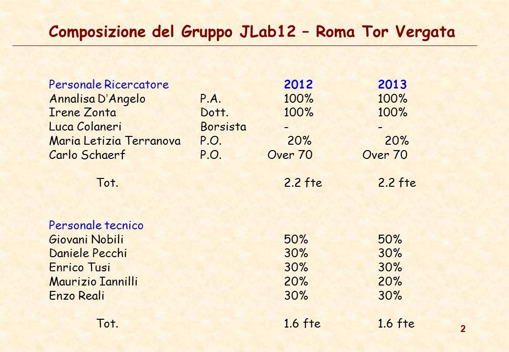 2 Composizione del Gruppo JLab12 – Roma Tor Vergata Personale Ricercatore 20122013 Annalisa D ' Angelo P.A. 100%100% Irene Zonta Dott. 100%100% Luca C