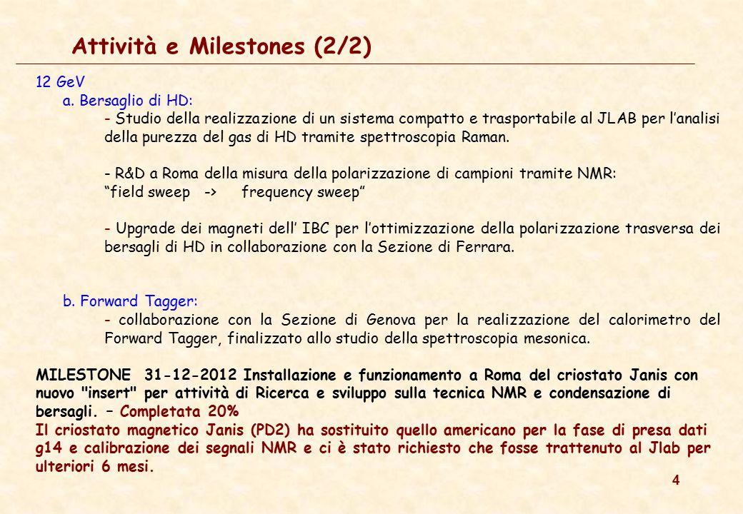 4 Attività e Milestones (2/2) 12 GeV a. Bersaglio di HD: - Studio della realizzazione di un sistema compatto e trasportabile al JLAB per l'analisi del
