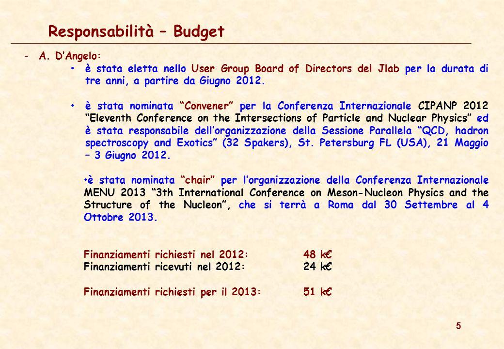 5 Responsabilità – Budget -A. D'Angelo: è stata eletta nello User Group Board of Directors del Jlab per la durata di tre anni, a partire da Giugno 201