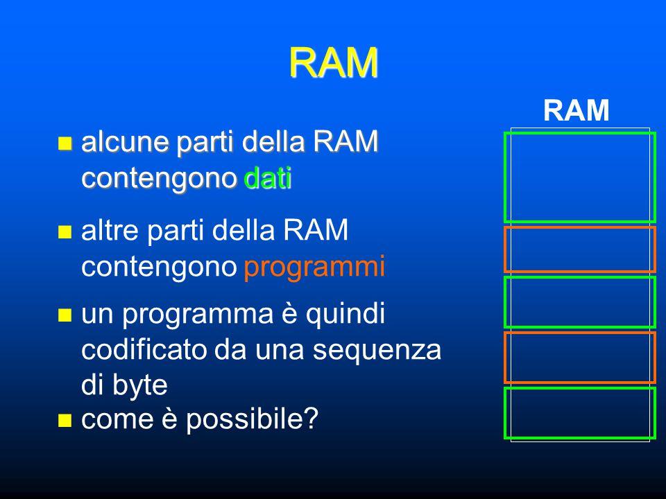 RAM alcune parti della RAM contengono dati alcune parti della RAM contengono dati RAM un programma è quindi codificato da una sequenza di byte altre parti della RAM contengono programmi come è possibile