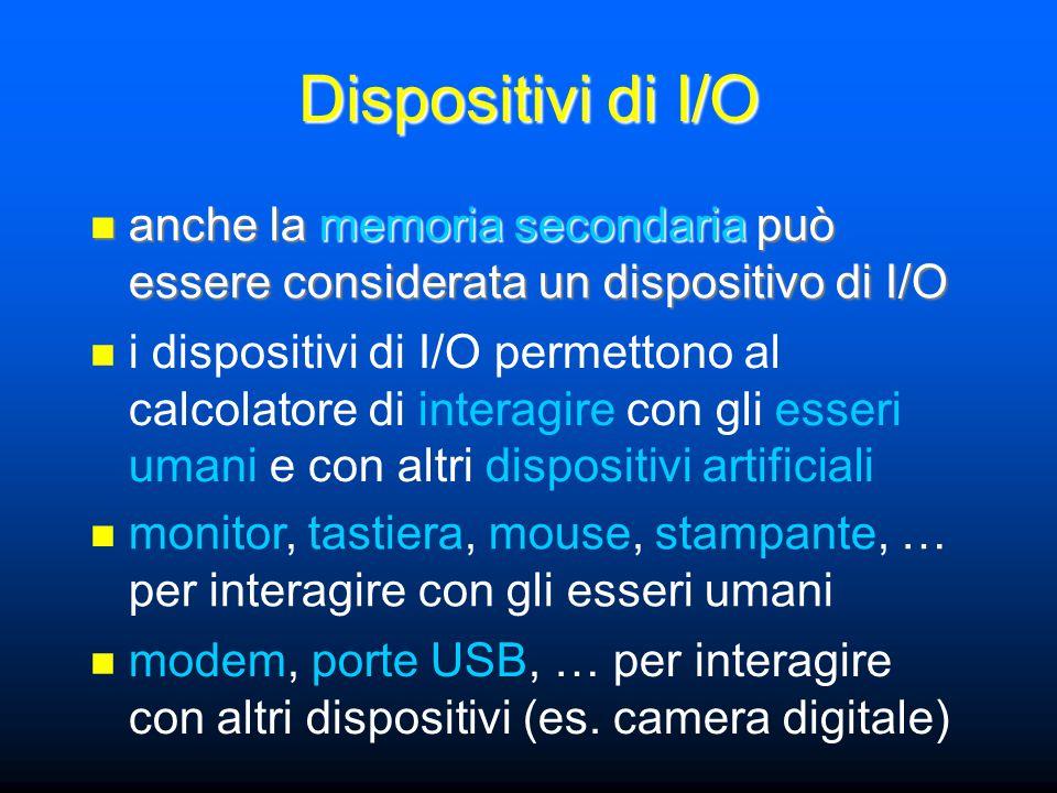 Dispositivi di I/O anche la memoria secondaria può essere considerata un dispositivo di I/O anche la memoria secondaria può essere considerata un disp