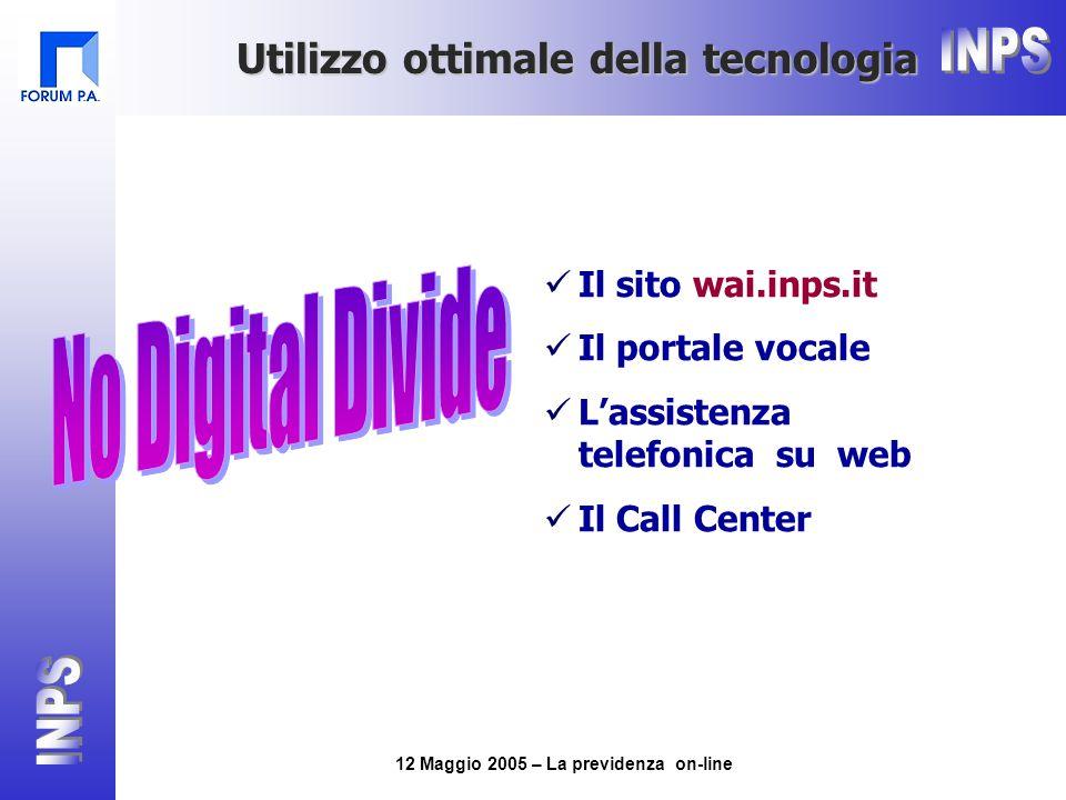 12 Maggio 2005 – La previdenza on-line Utilizzo ottimale della tecnologia Il sito wai.inps.it Il portale vocale L'assistenza telefonica su web Il Call Center