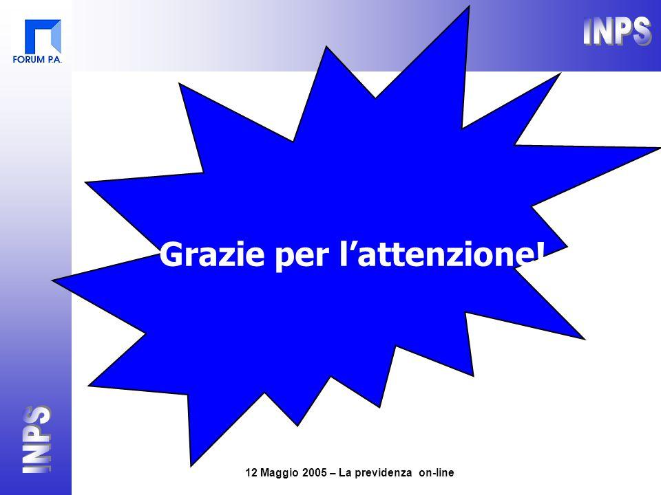 12 Maggio 2005 – La previdenza on-line Grazie per l'attenzione!