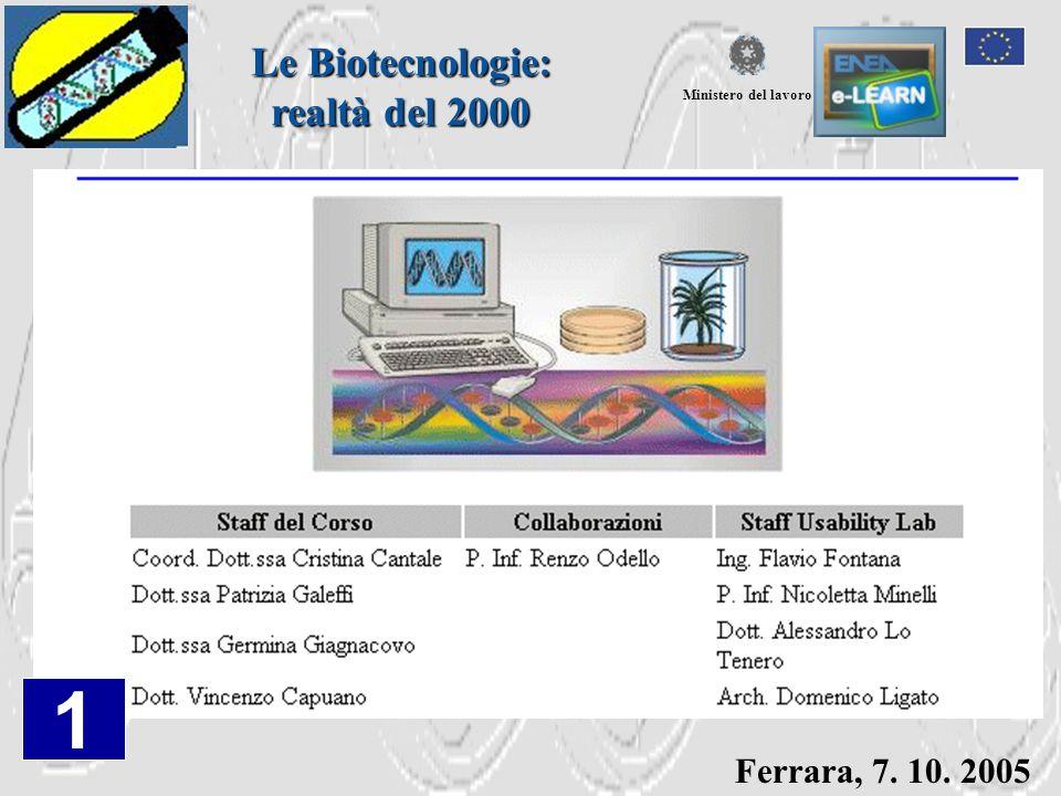 Ferrara, 7. 10. 2005 Le Biotecnologie: realtà del 2000 Ministero del lavoro 1