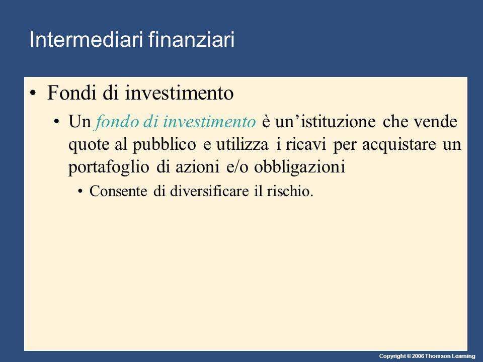 Copyright © 2006 Thomson Learning Intermediari finanziari Fondi di investimento Un fondo di investimento è un'istituzione che vende quote al pubblico e utilizza i ricavi per acquistare un portafoglio di azioni e/o obbligazioni Consente di diversificare il rischio.