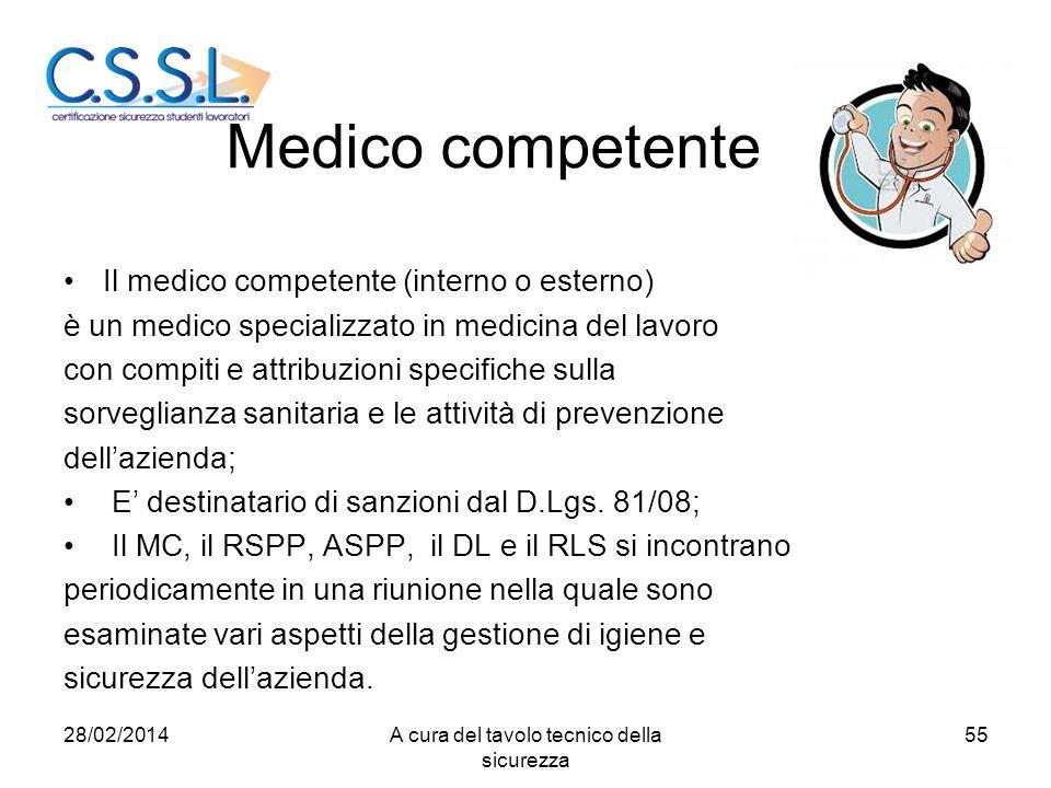 Medico competente Il medico competente (interno o esterno) è un medico specializzato in medicina del lavoro con compiti e attribuzioni specifiche sull