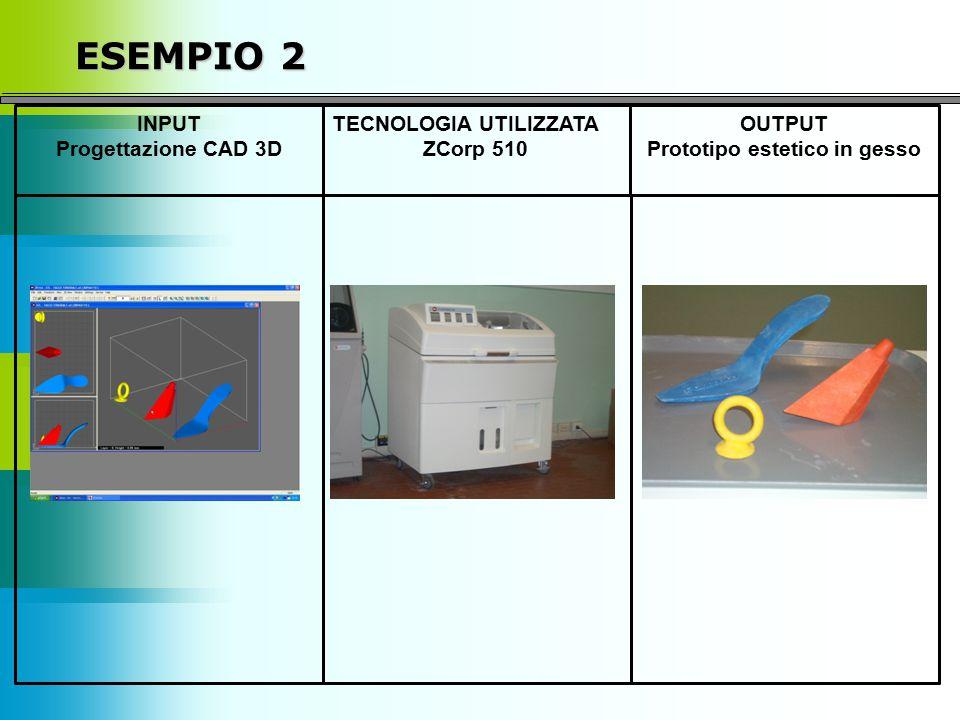 ESEMPIO 2 INPUT Progettazione CAD 3D TECNOLOGIA UTILIZZATA ZCorp 510 OUTPUT Prototipo estetico in gesso