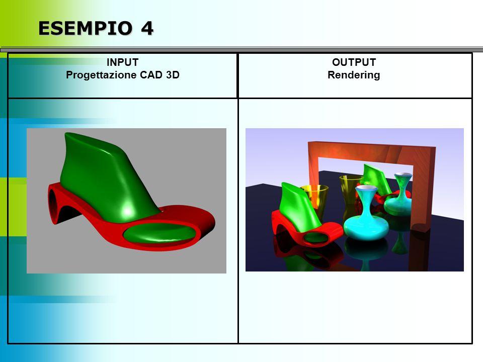 ESEMPIO 4 INPUT Progettazione CAD 3D OUTPUT Rendering