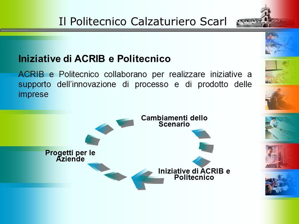 Il Politecnico Calzaturiero Scarl Iniziative di ACRIB e Politecnico ACRIB e Politecnico collaborano per realizzare iniziative a supporto dell'innovazi
