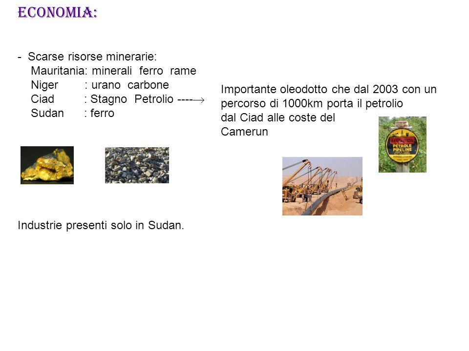 ECONOMIA: - Scarse risorse minerarie: Mauritania: minerali ferro rame Niger : urano carbone Ciad : Stagno Petrolio ----  Sudan : ferro Industrie presenti solo in Sudan.