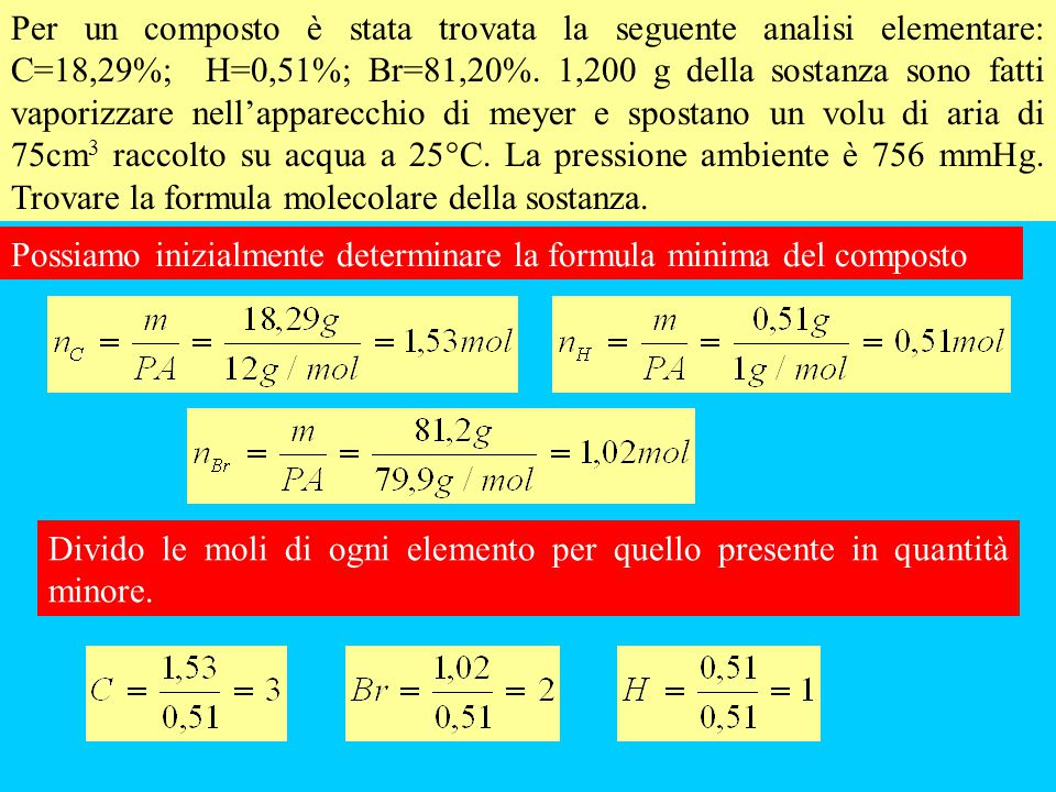 Per un composto è stata trovata la seguente analisi elementare: C=18,29%; H=0,51%; Br=81,20%. 1,200 g della sostanza sono fatti vaporizzare nell'appar