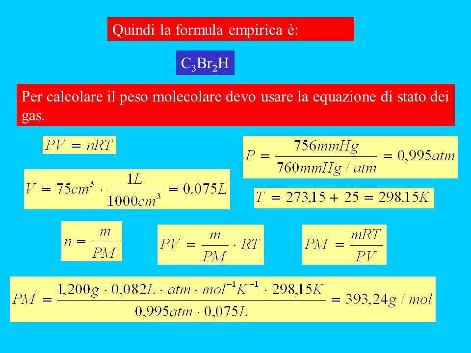 Quindi la formula empirica è: Per calcolare il peso molecolare devo usare la equazione di stato dei gas. C 3 Br 2 H