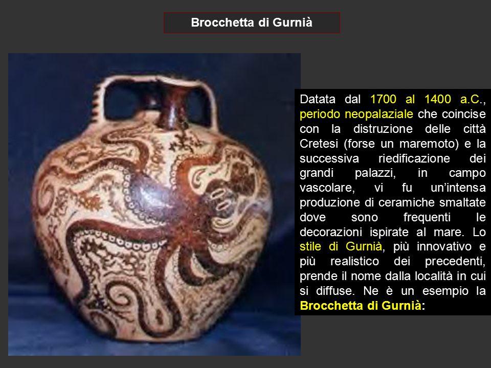 Brocchetta di Gurnià Datata dal 1700 al 1400 a.C., periodo neopalaziale che coincise con la distruzione delle città Cretesi (forse un maremoto) e la s
